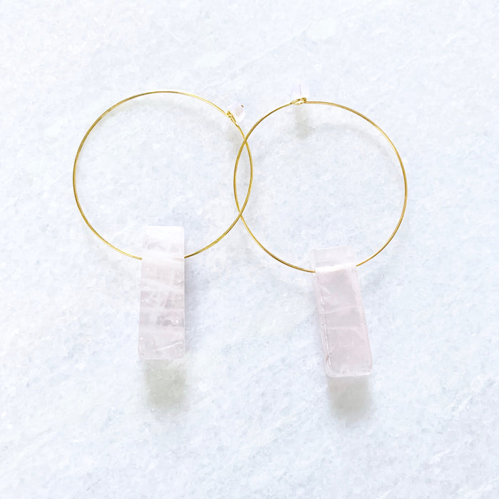 rose quartz rox hoops