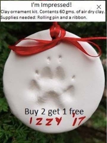 Pet clay impression Christmas ornament kit keepsake