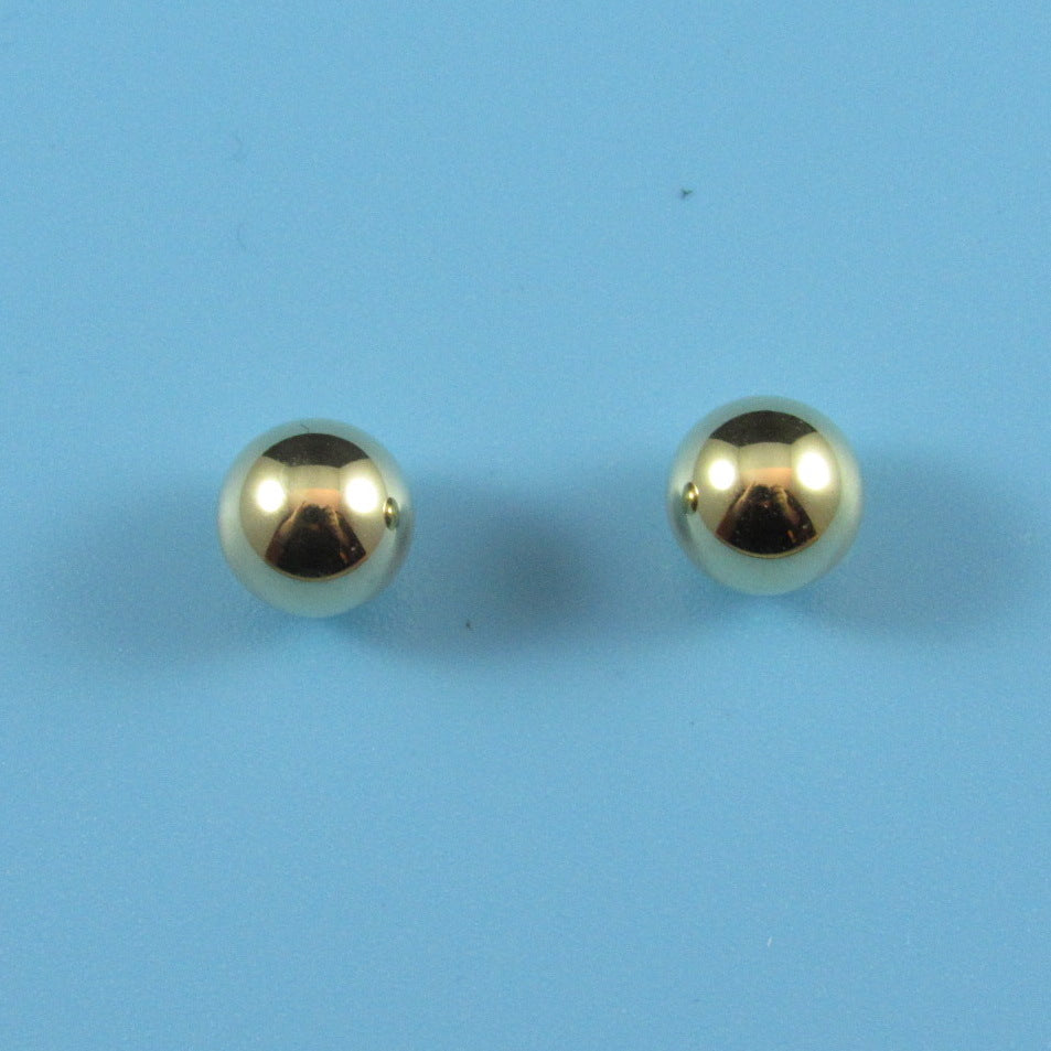 0006mm - 0010mm - 14kt Gold Ball, Solid Post Earring