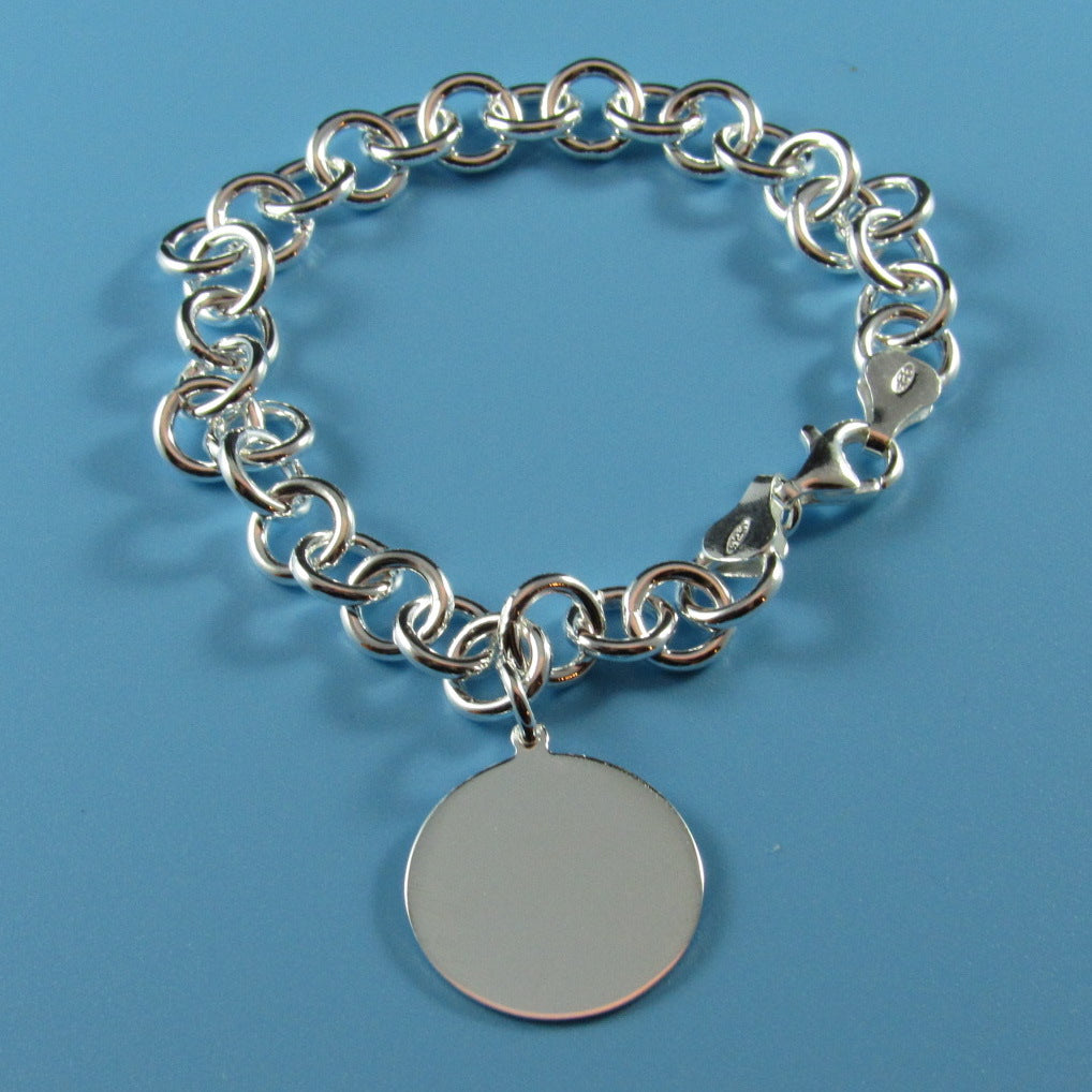 2574D - Medium Tiffany-Style Bracelet with Disc