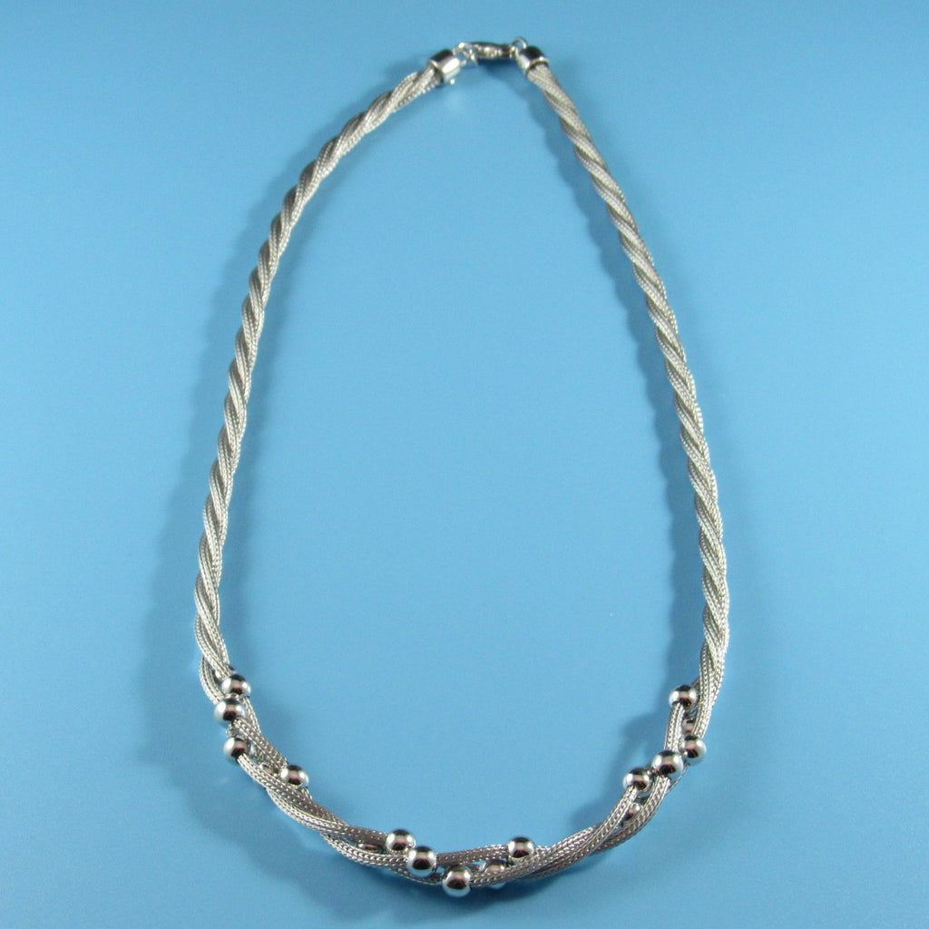 2925 - 3-Strand Twisted Mesh and Beads Necklace - 18