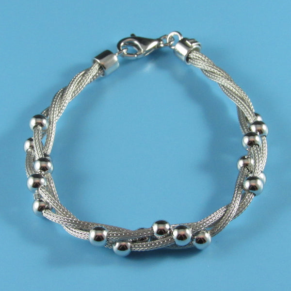 2925 - 3-Strand Twisted Mesh and Beads Bracelet