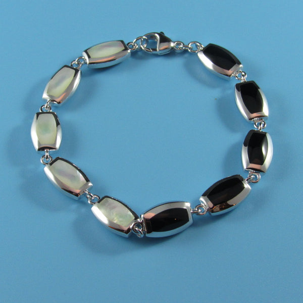4010 - Black Agate with Mother of Pearl Section Bracelet