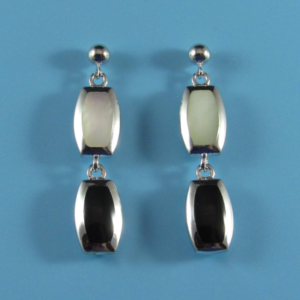 4010 - Black Agate with Mother of Pearl Section Earrings