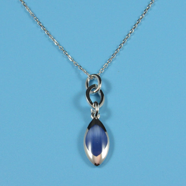 4114 - Gorgeous Blue Cat's Eye Oval Pendant Necklace - 18
