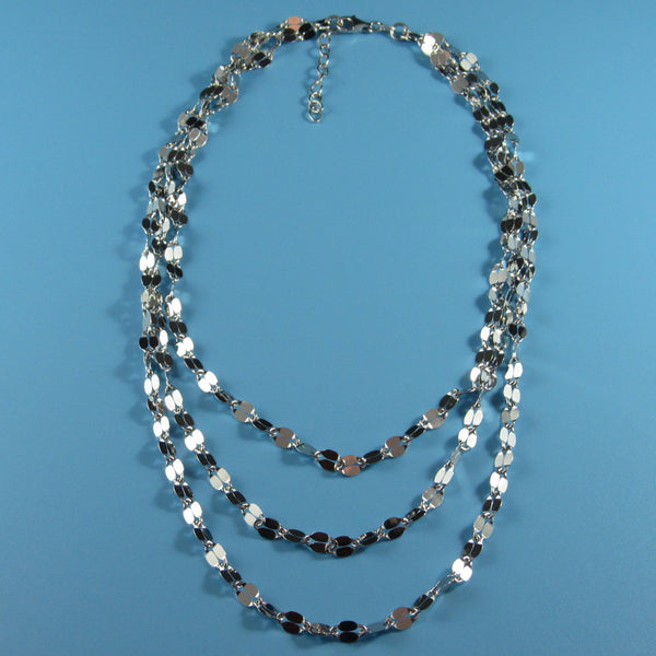 4244 - Sterling Graduated Oval Sections Necklace - 18
