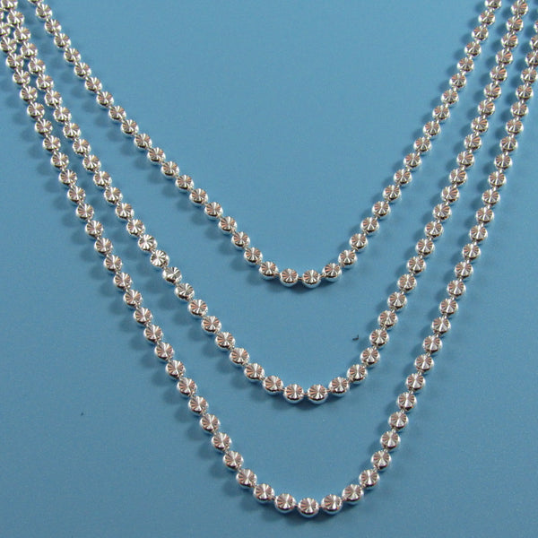 4325 - Triple Strand Sparkle Cut Beads Necklace - 18