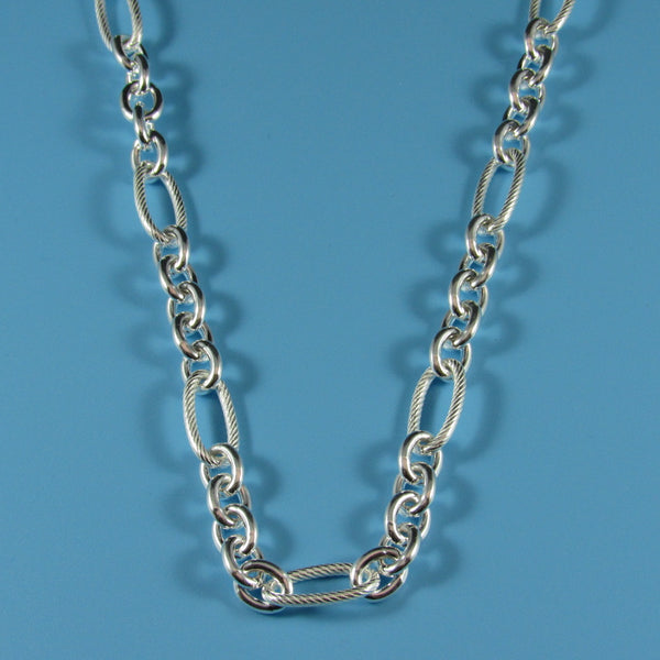 4351 - Alternating Link with Twist Link Necklace - 24