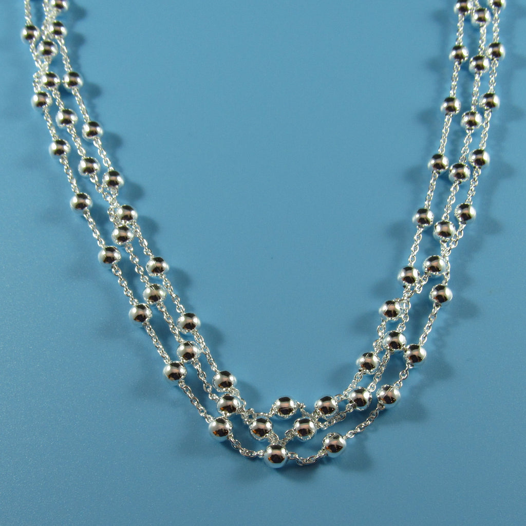 4356 - Delicate 3-Strand Beaded Sterling Silver Necklace - 18
