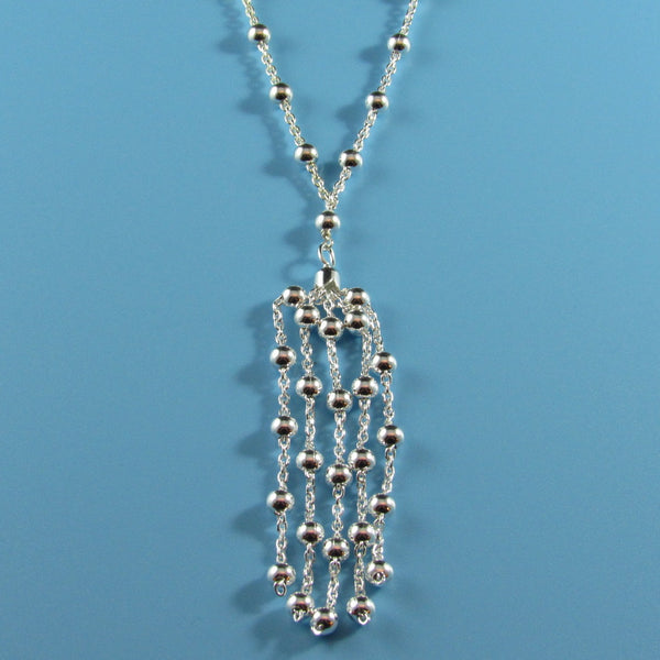 4356 - Delicate Beaded Sterling Necklace with 5-Strand Beaded Tassel - 32