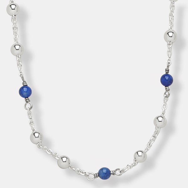 4386 - Delicate Beaded Chain with 4mm Blue Lapis Beads - 17