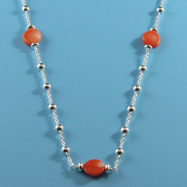 4405 - Delicate Sterling Beaded Necklace with Pink Coral - 30