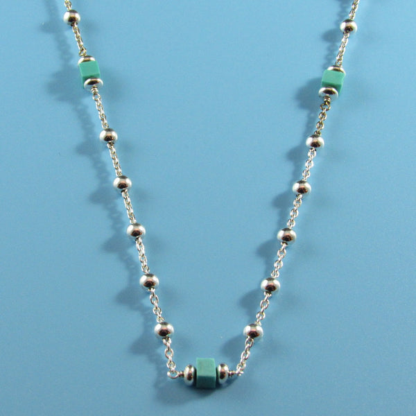 4406 - Delicate Sterling Beaded Necklace with Turquoise - 30