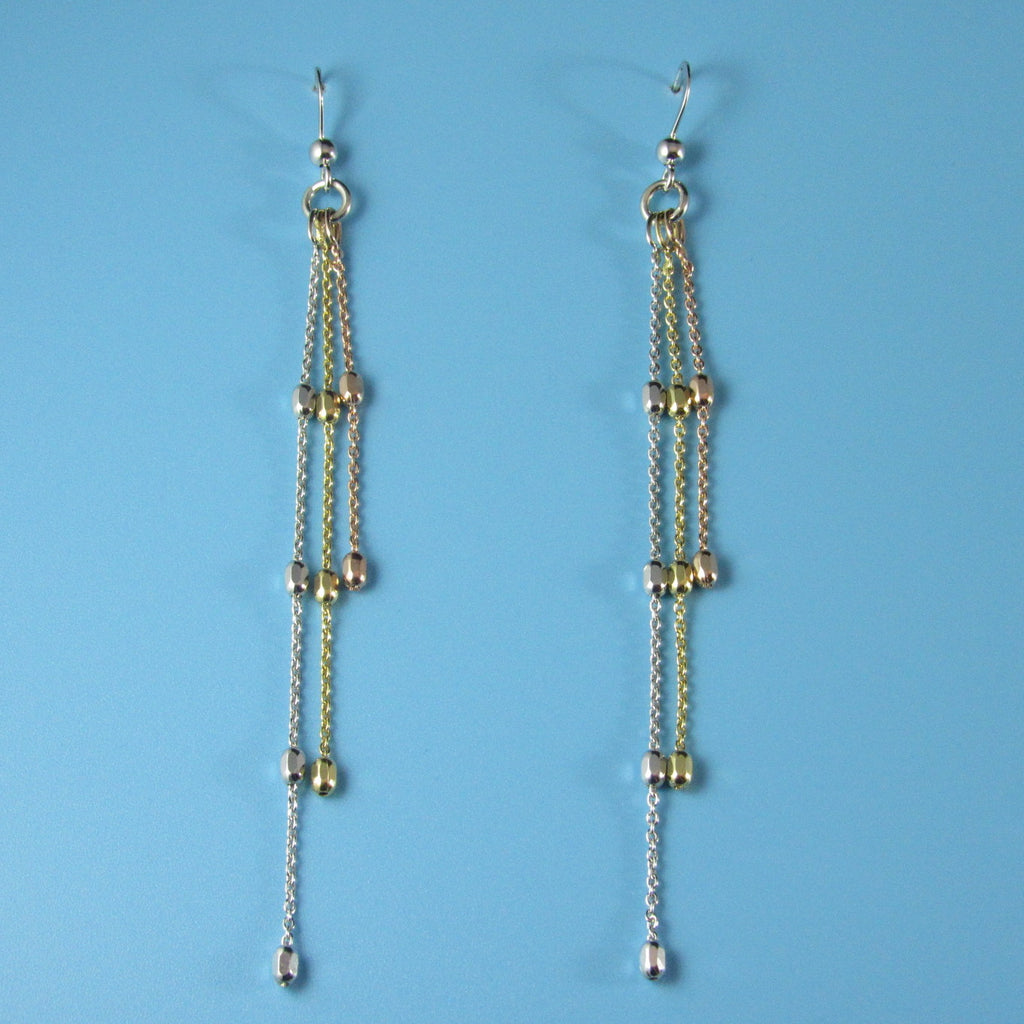 4410 - Elegant Tri-color Rice Bead Earrings