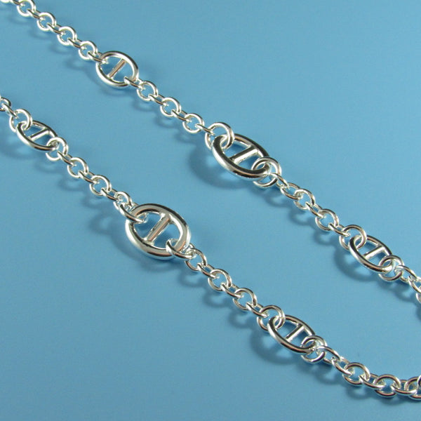 4413 - Rolo Chain with Large Anchor Stations Necklace - 24