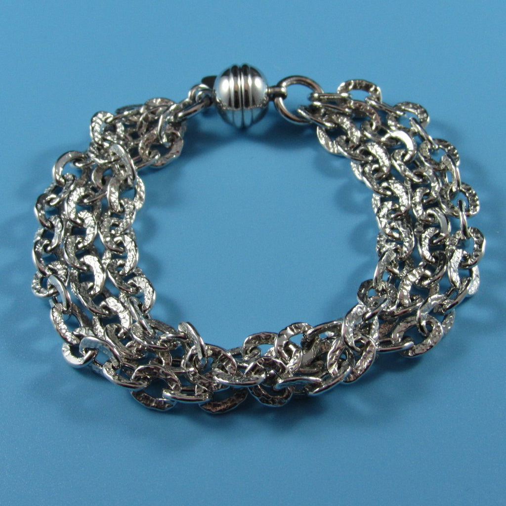 4416 - Tres Chic 3-Strand Hammered Link Bracelet with Magnetic Clasp