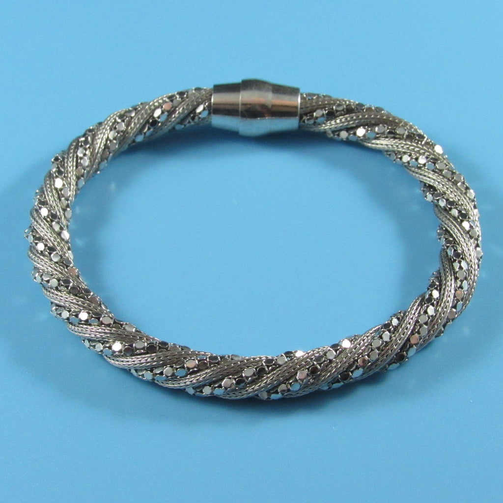 4417 - Sparkle Mirror Bead and Mesh Twisted Bracelet with Magnet Clasp