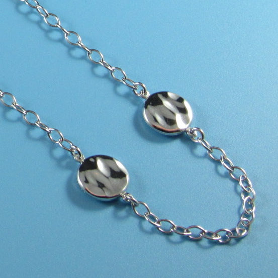 4420 - Elegant Link Chain with Hammered Disc Stations Necklace - 27