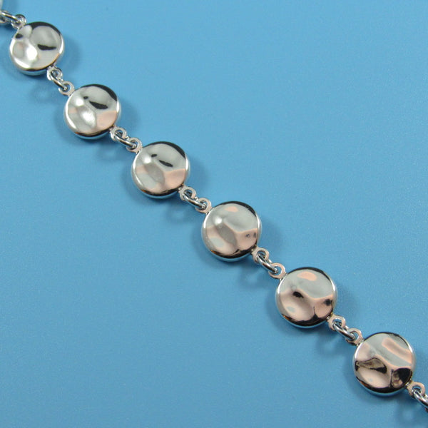 4420 - Elegant Link Chain with Hammered Disc Stations Bracelet