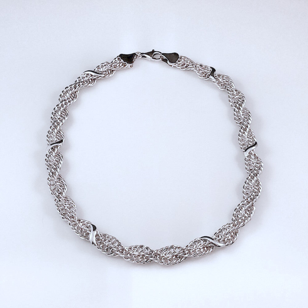 4422 - Elegant Sparkle Cut Twisted Mesh Necklace - 17