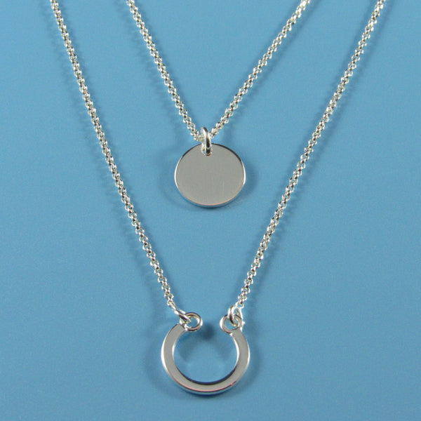 4431 - Lucky 2-Strand Necklace with Horseshoe Bottom Pendant - 17