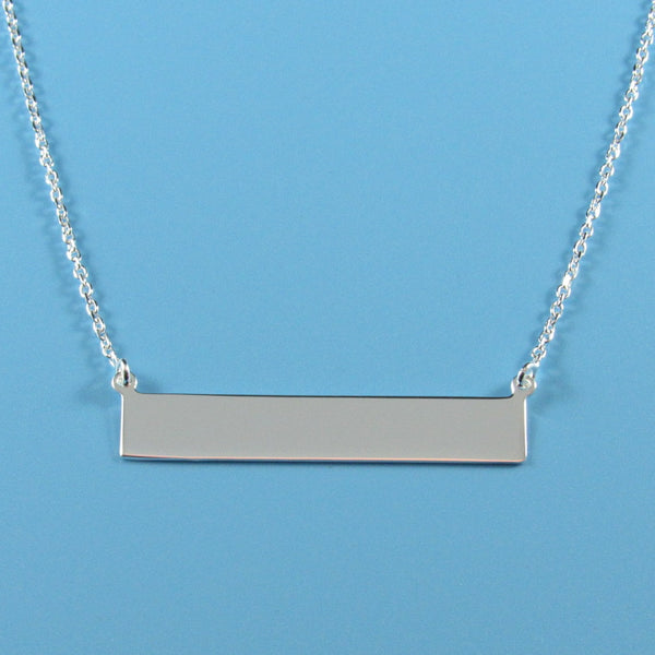 4449 - Sterling Engraveable Bar Necklace - 18