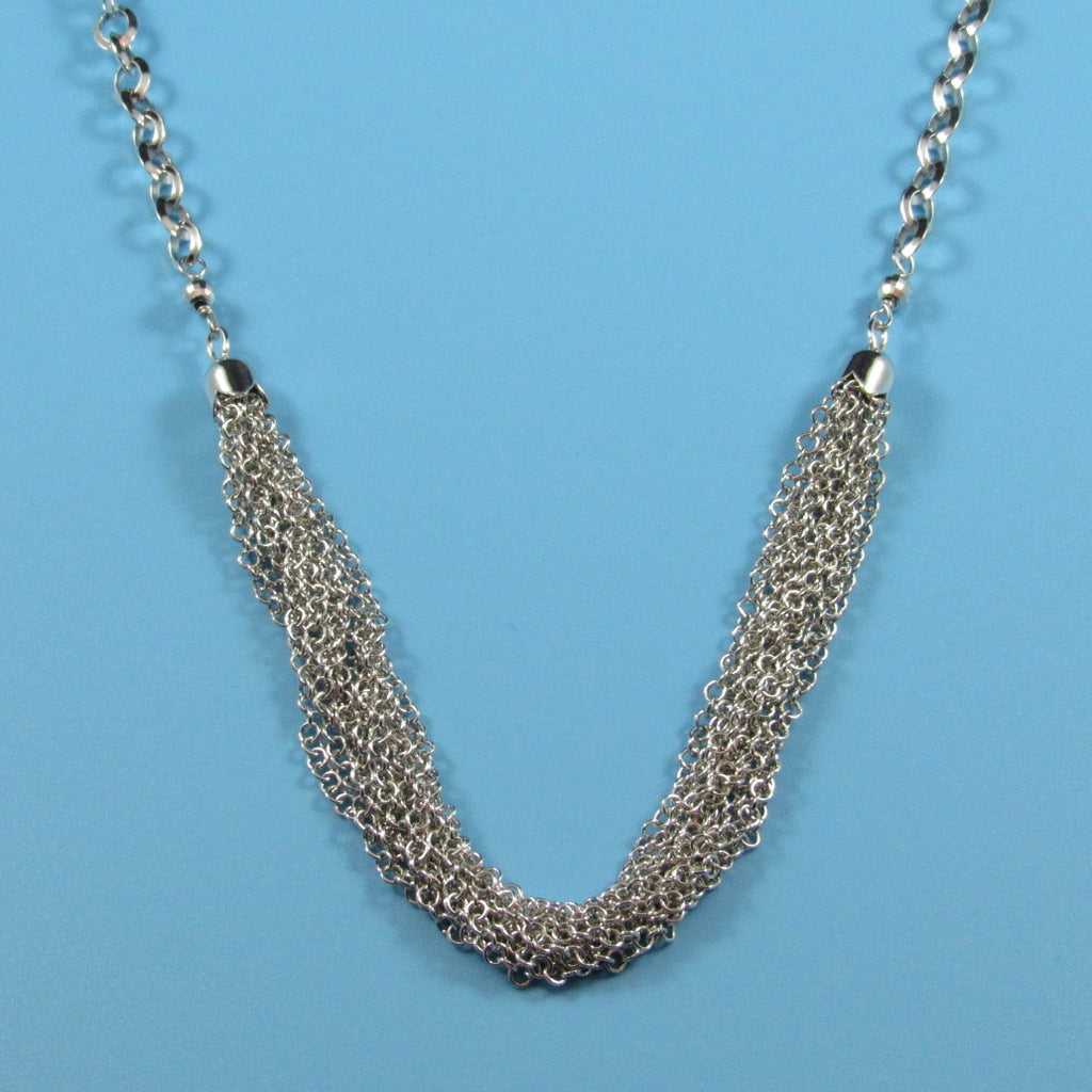 4452 - Concave Cable with Multi-Strand Center Necklace - 27