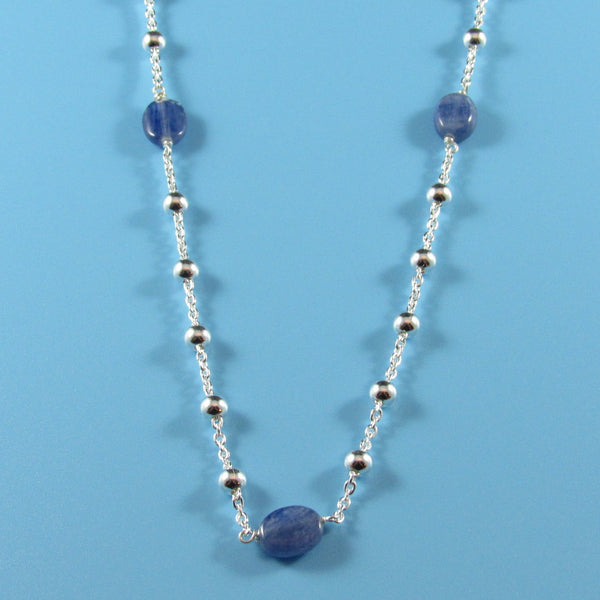 4454 - Sterling Silver Beaded Necklace with Kyanite Beads - 30