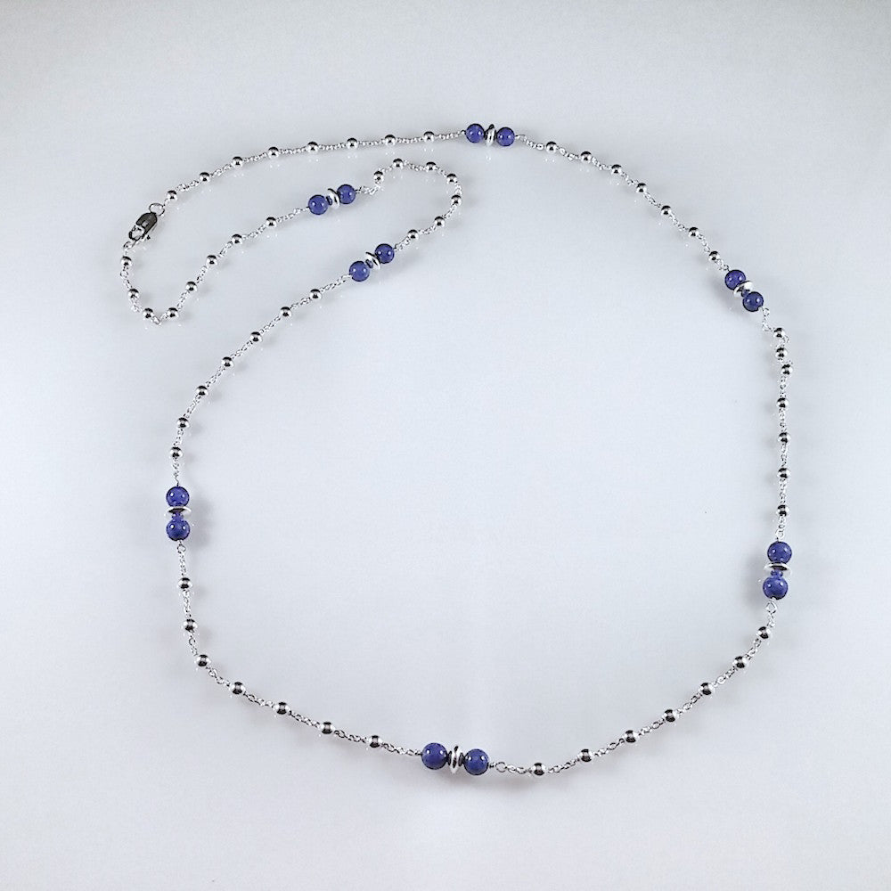 4470 - Sterling Beaded Necklace with Double Blue Lapis Beads - 36