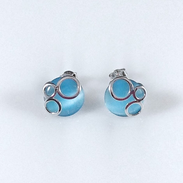4473 - Round Aqua Cat's Eye with Sterling Circles Earrings