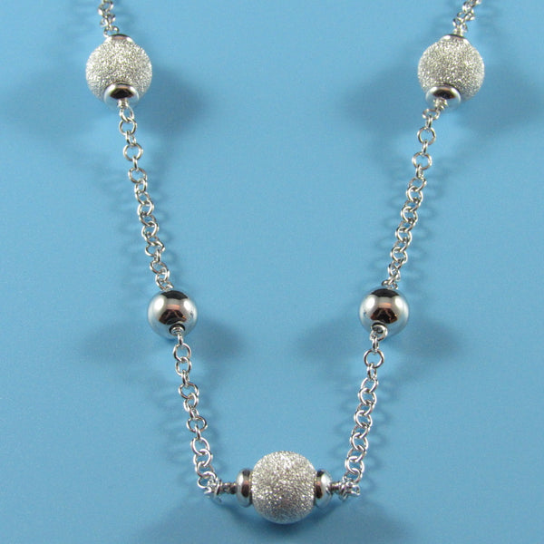 4475 - Rolo Link Necklace with Alternating 8mm Stardust and 6mm High Polish Beads - 20