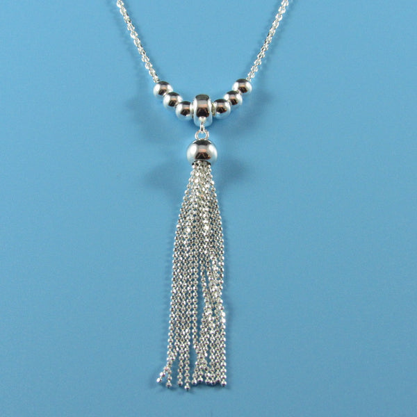 4477 - Adjustable Stylish Sparkle Cut Tassel Necklace - 20