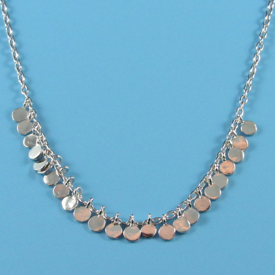 4478 - Delicate Shimmering Mini Discs Necklace - 16