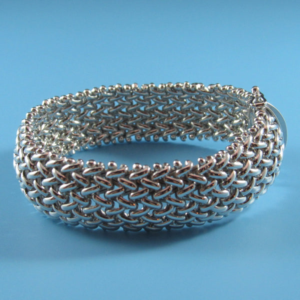 4479 - Gorgeous Sterling Silver Basketweave Bracelet