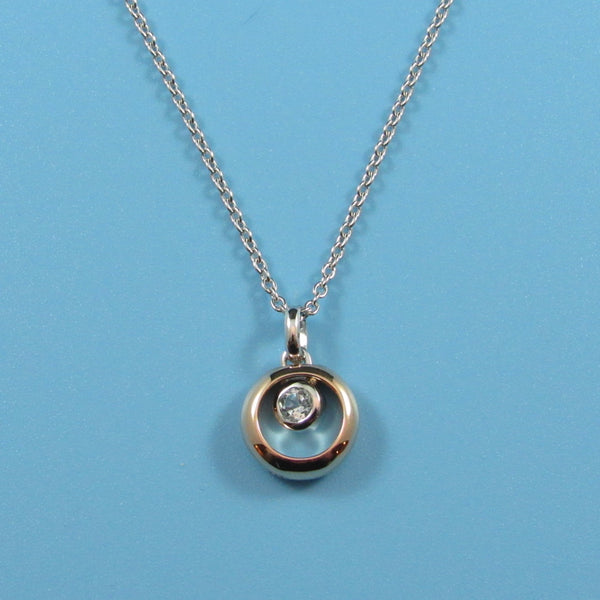 4481 - Delicate Floating Blue Topaz within Lovely Rose Gold Circle - 16