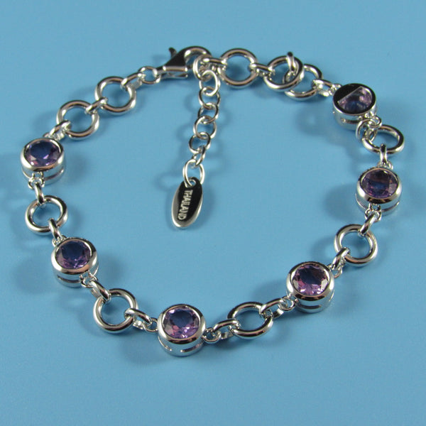 4500 - Alternating Sterling Silver Amethyst Round Circles Bracelet