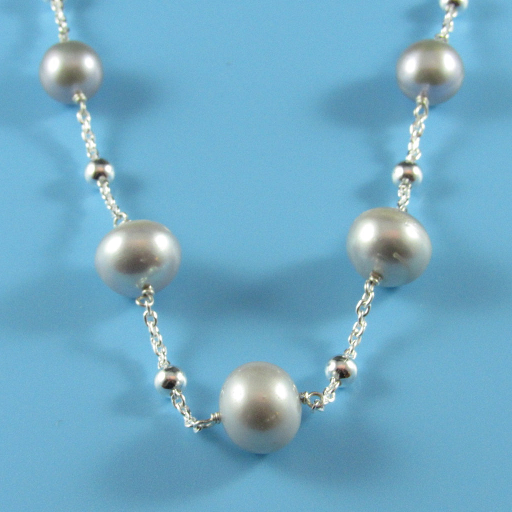4511 - Sterling Silver Beaded Necklace with Graduated 6-11mm Fresh Water Grey Pearls - 16