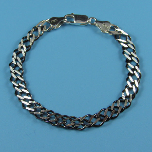 4520 - 6.5mm Flat Double Curb Ruthenium Bracelet