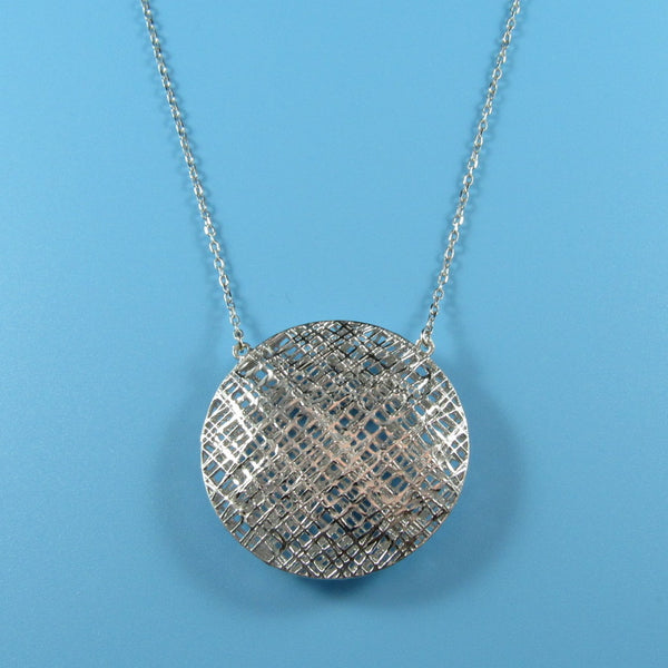 4523 - Stria Puff Double-Sided Pendant Necklace - 18