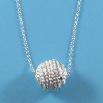 4525 - Textured Diamond Cut Orb with Confetti Necklace - 16