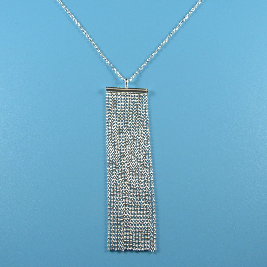 4527 - Long Rectangular Diamond Cut Tassel Necklace - 28
