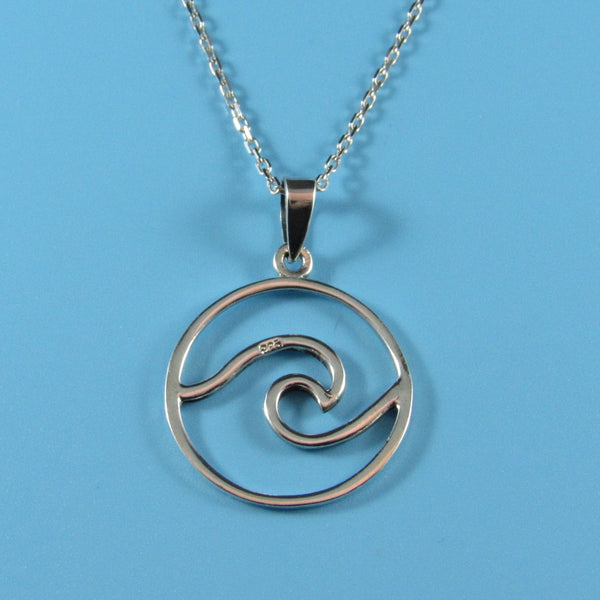 4537 - Circle Wave Pendant on Sterling Chain - 18