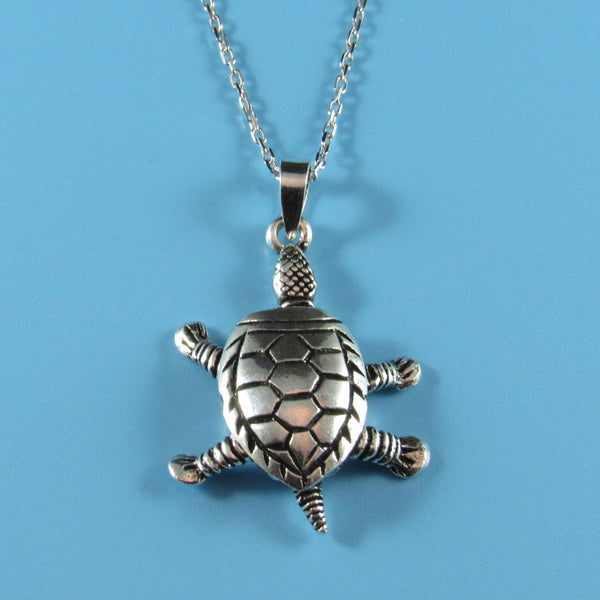 4540 - Moveable Turtle Pendant on Sterling Chain - 18