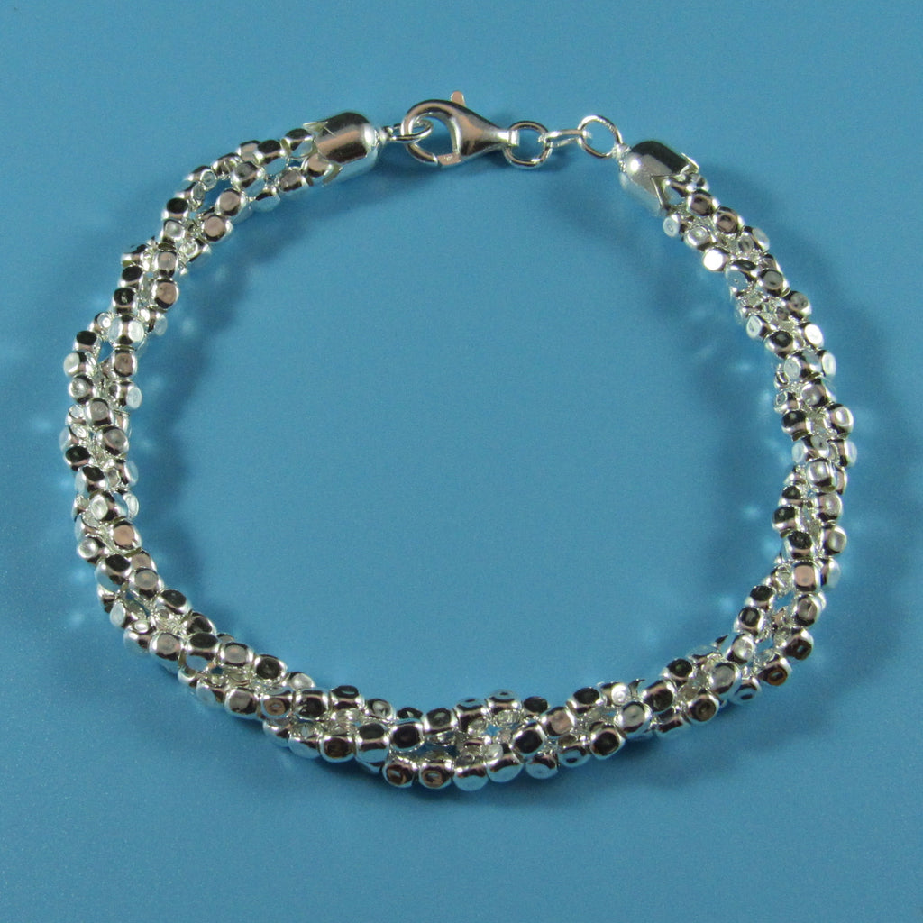 4548 - Twisted Diamond Cut Bead Bracelet