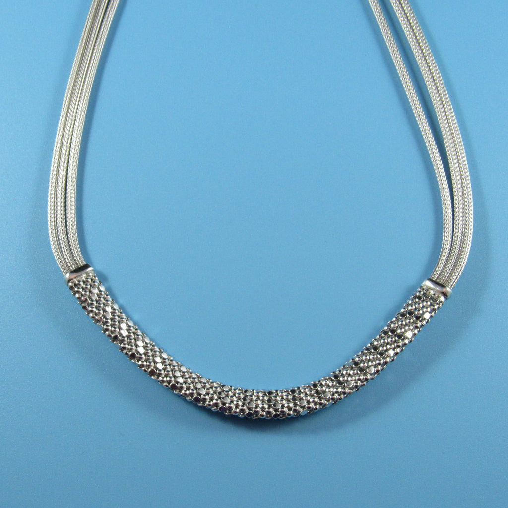 4549 - Mesh with Center Diamond Cut Necklace - 18