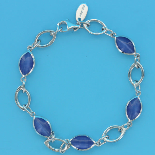 4551-Blue Cat's Eye Alternating Ovals Bracelet
