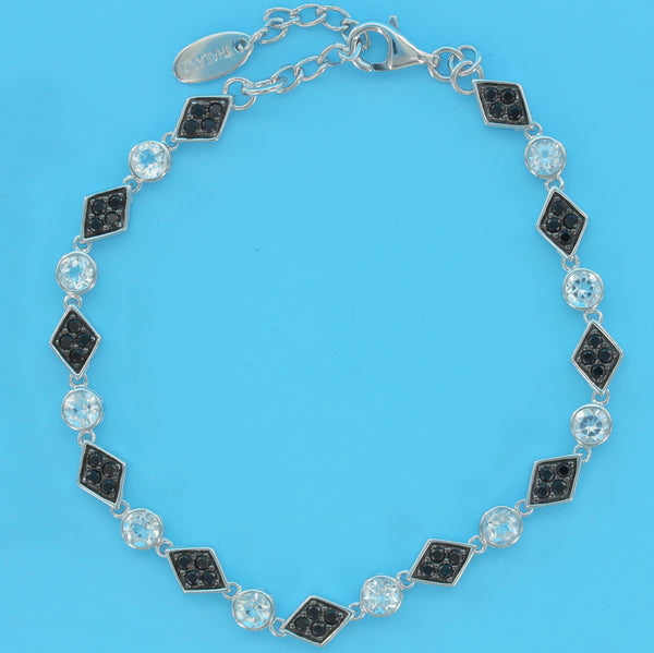 4556-White Topaz with Black Spinel Bracelet