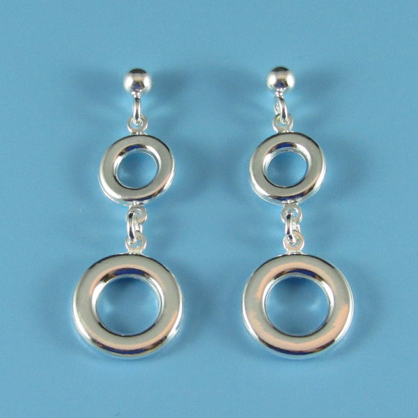 6618 - Geometric Double Circle Drop Earrings