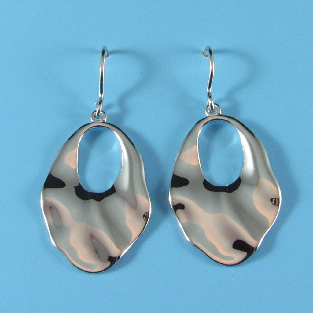 6627 - Sterling Silver Wavy Oval Drop Earring with Cutout Circle
