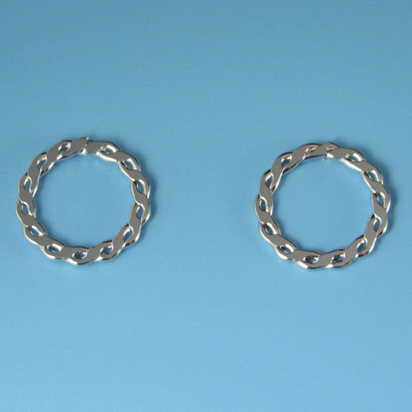 6632 - Classic Look 15mm Flat Link Round Post Earring
